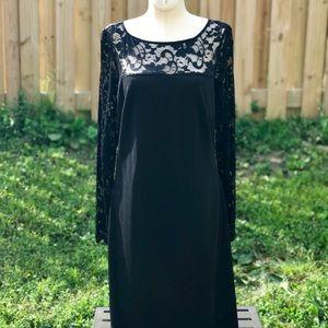 Donna Ricco lace sleeve little black dress